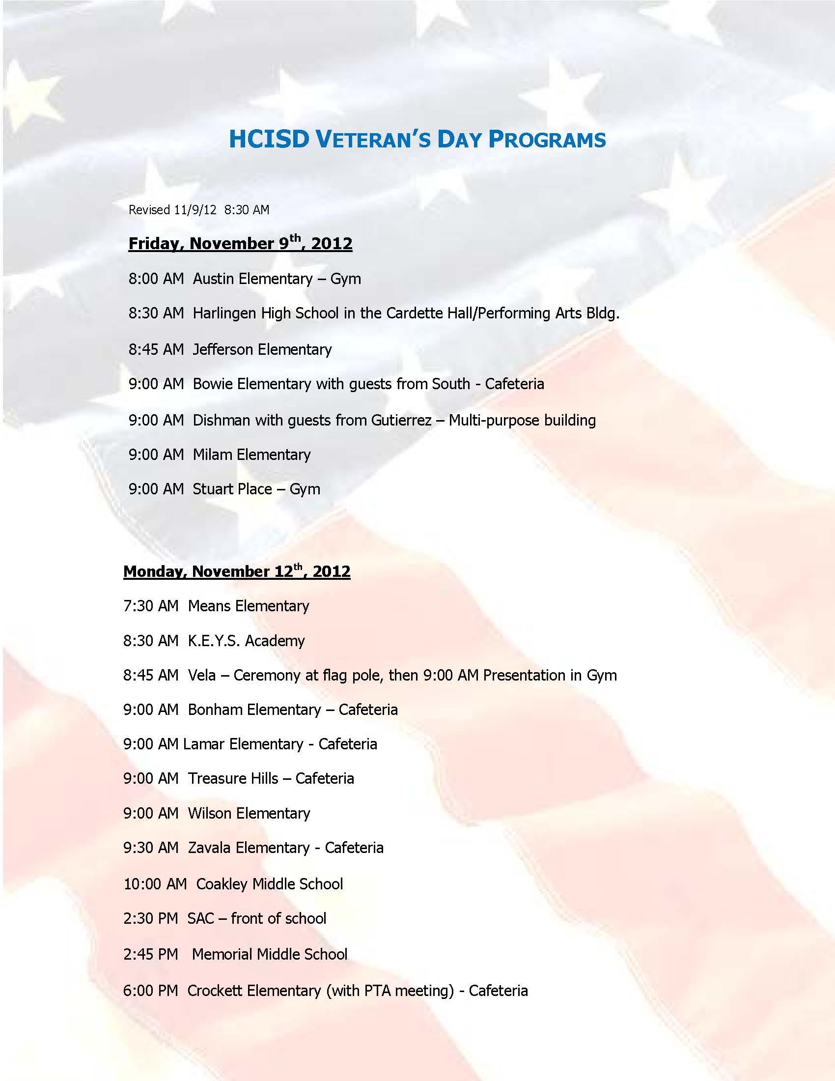 HCISD Veterans Day program schedule