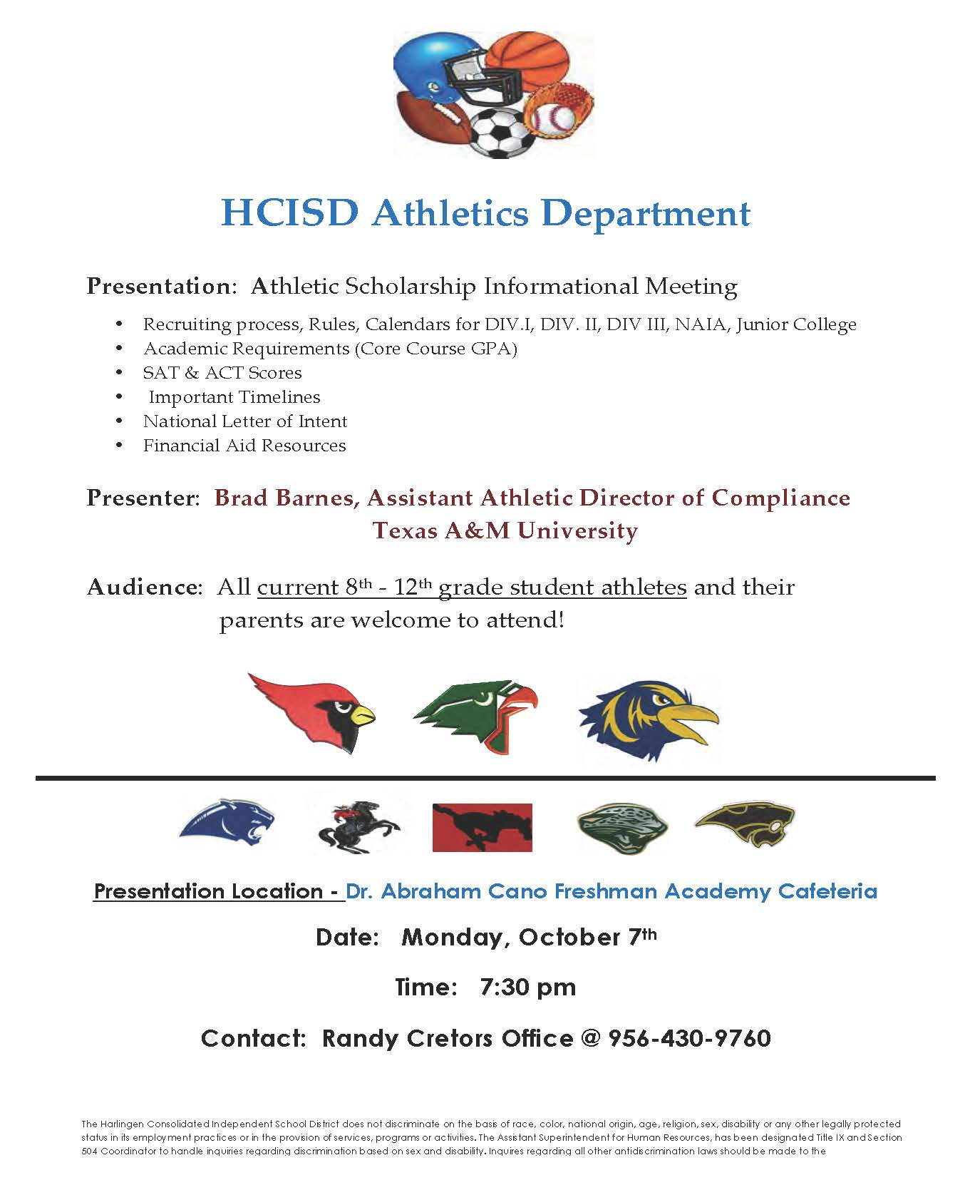 Athletes and parents invited to Athletic Scholarship Information Meeting