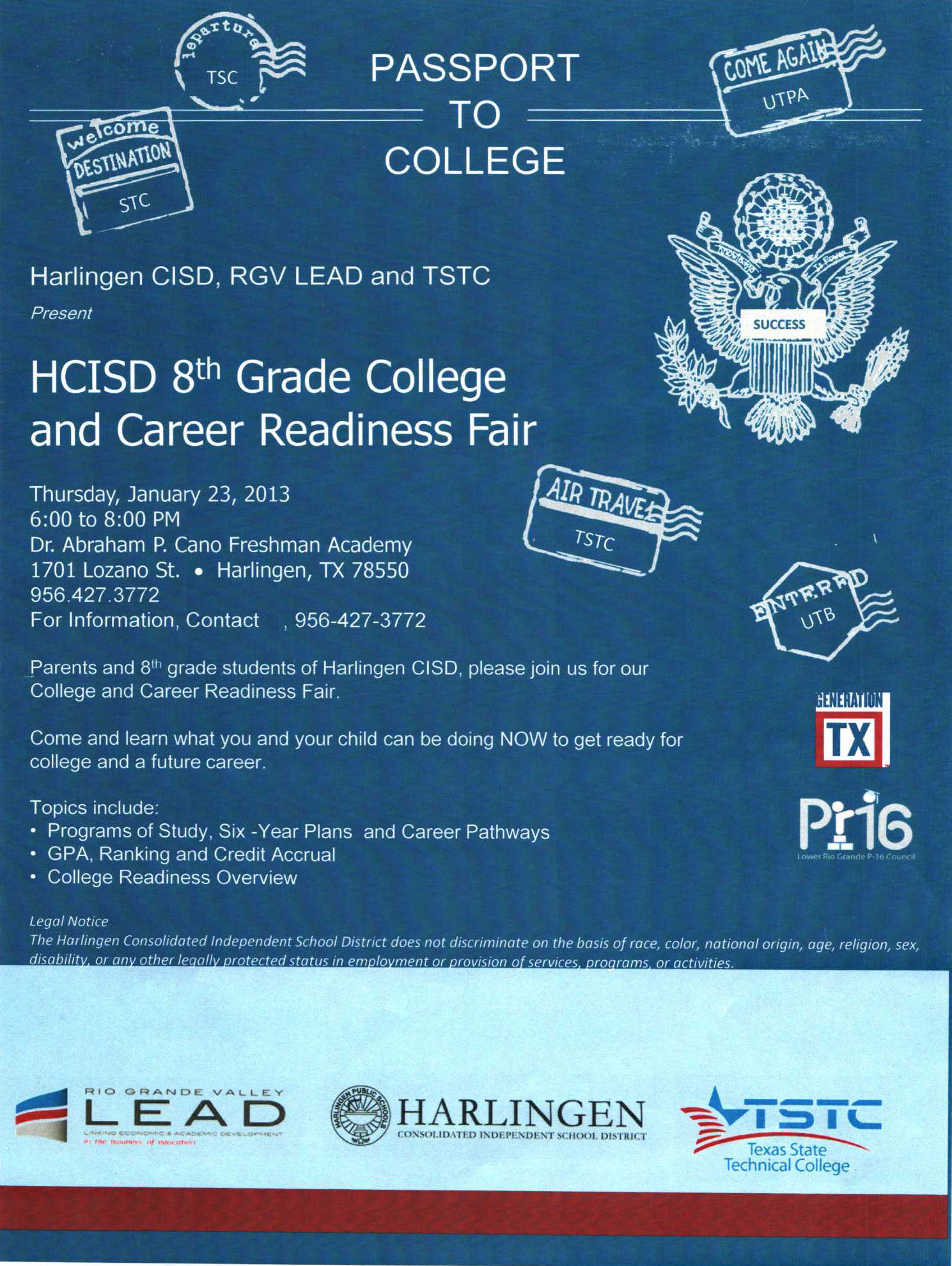 HCISD invites eighth grade community to Passport to College event