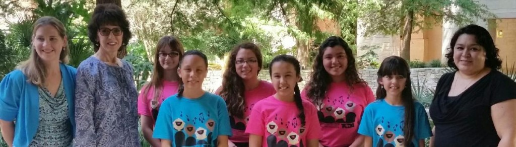 Pictured from Left to Right (Back Row) Memorial MS Choir Director-Rebecca Albritton, Susan Morrison-Choral Staff Accompanist, Sopranos-Coleen Cummins, Sophia Lopez, and Gabriela Garza, Gutierrez MS Choir Director-Pamela Briones (Front Row from Memorial M.S.) Altos- Yancianna Delgado, Mariah Molina, and Camila Vallejo.