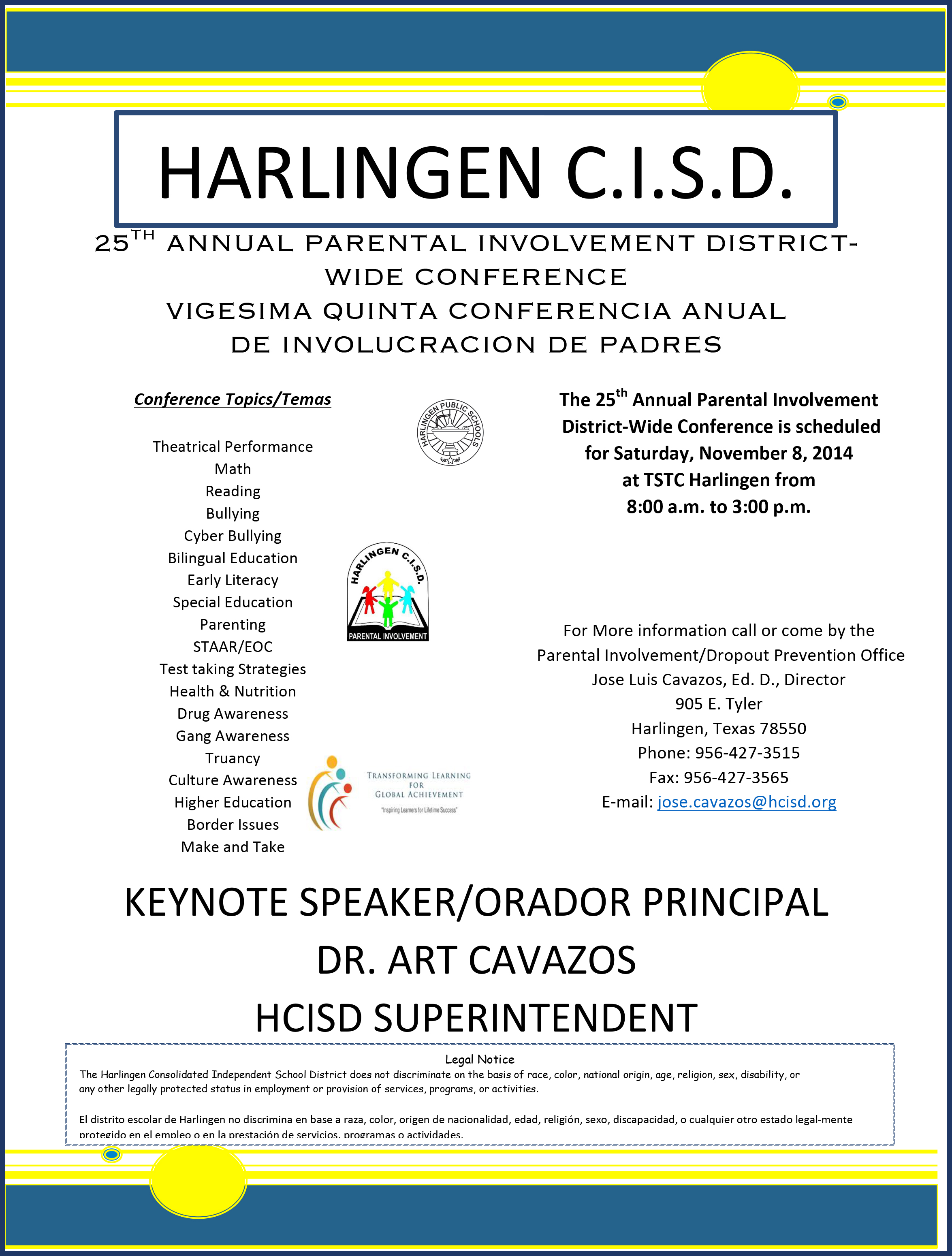 HCISD to host 25th annual Parental Involvement District-Wide Conference