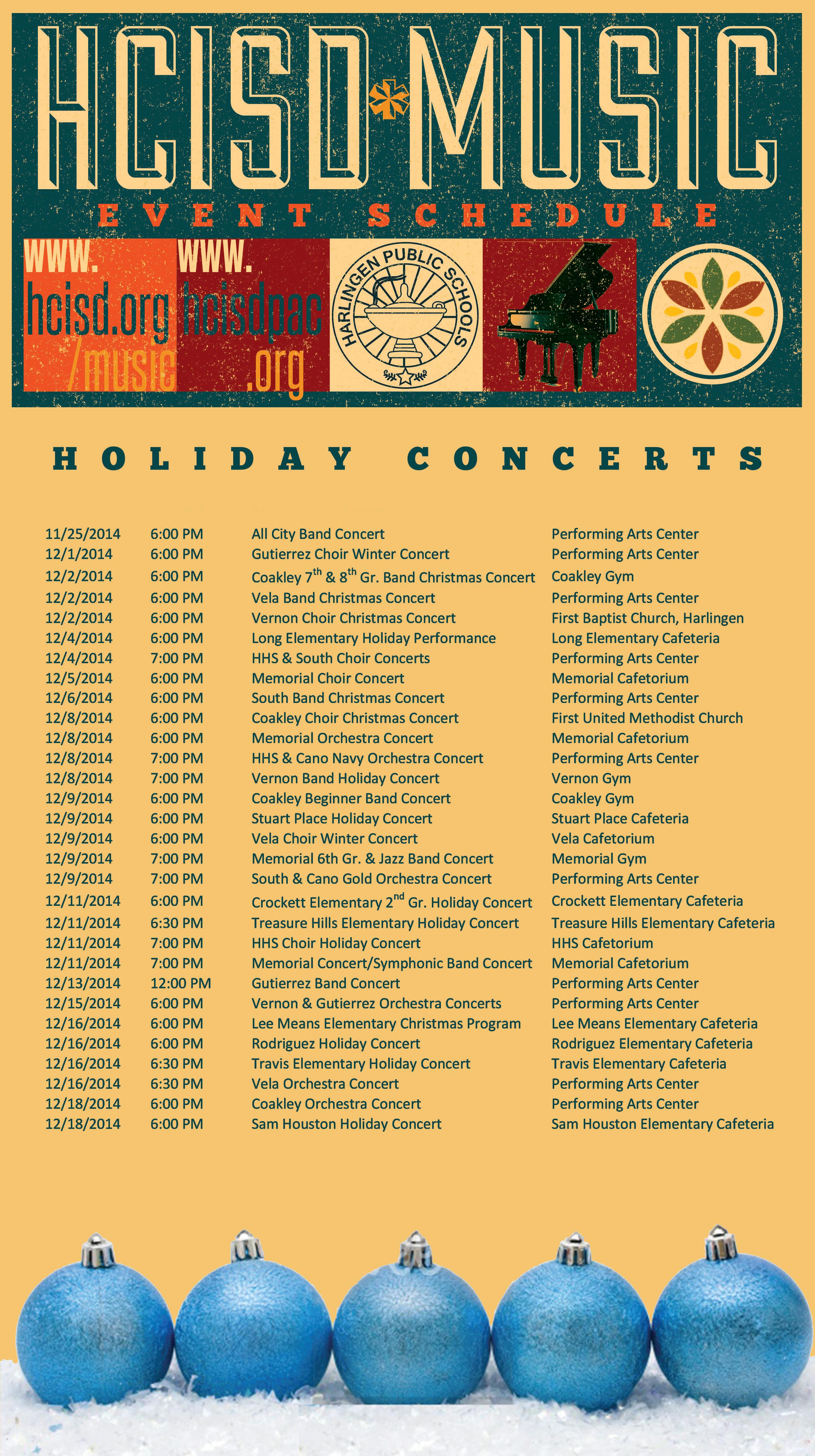 Holiday Concert Schedule 2014