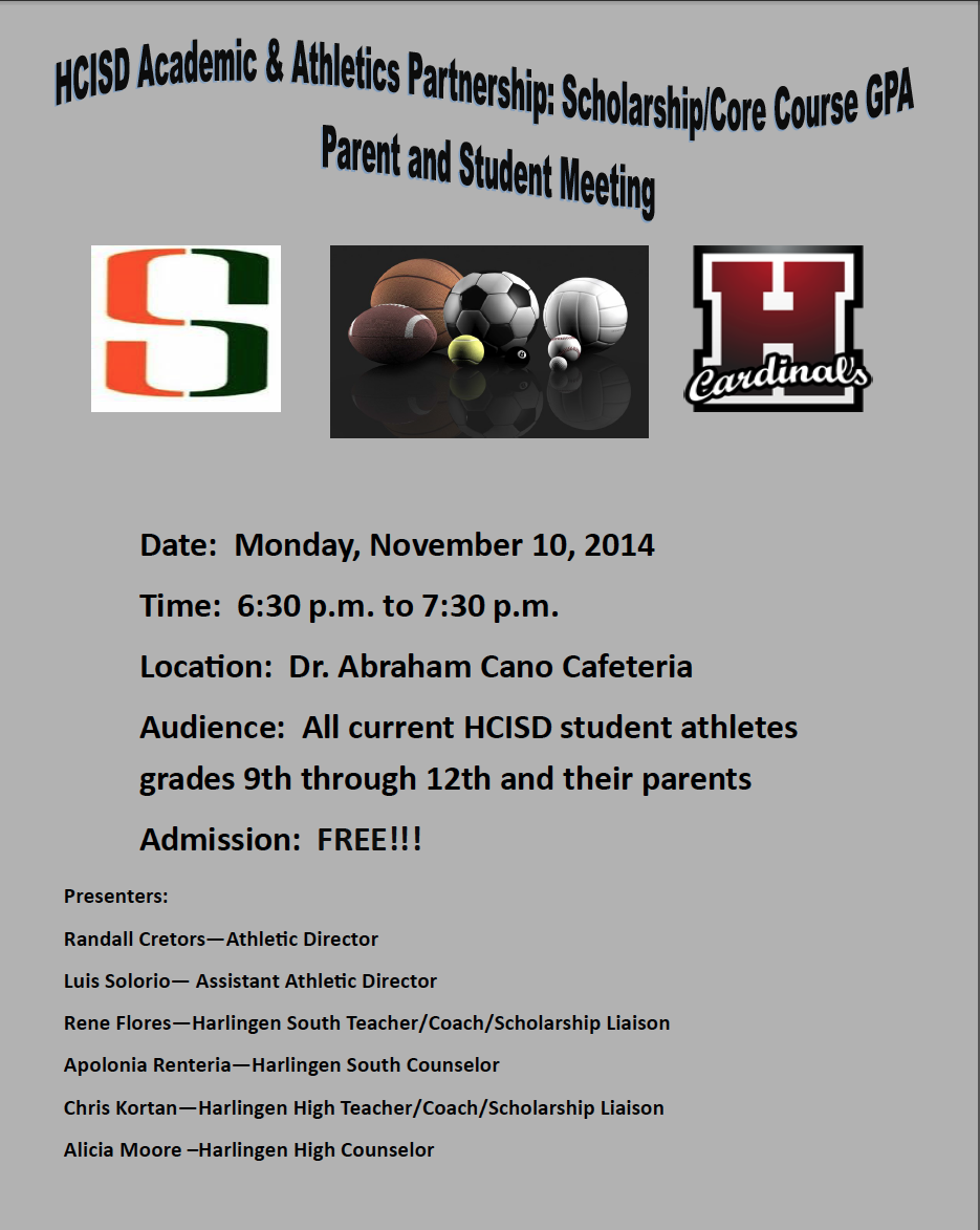 Student-athletes and parents invited to informational scholarship meeting