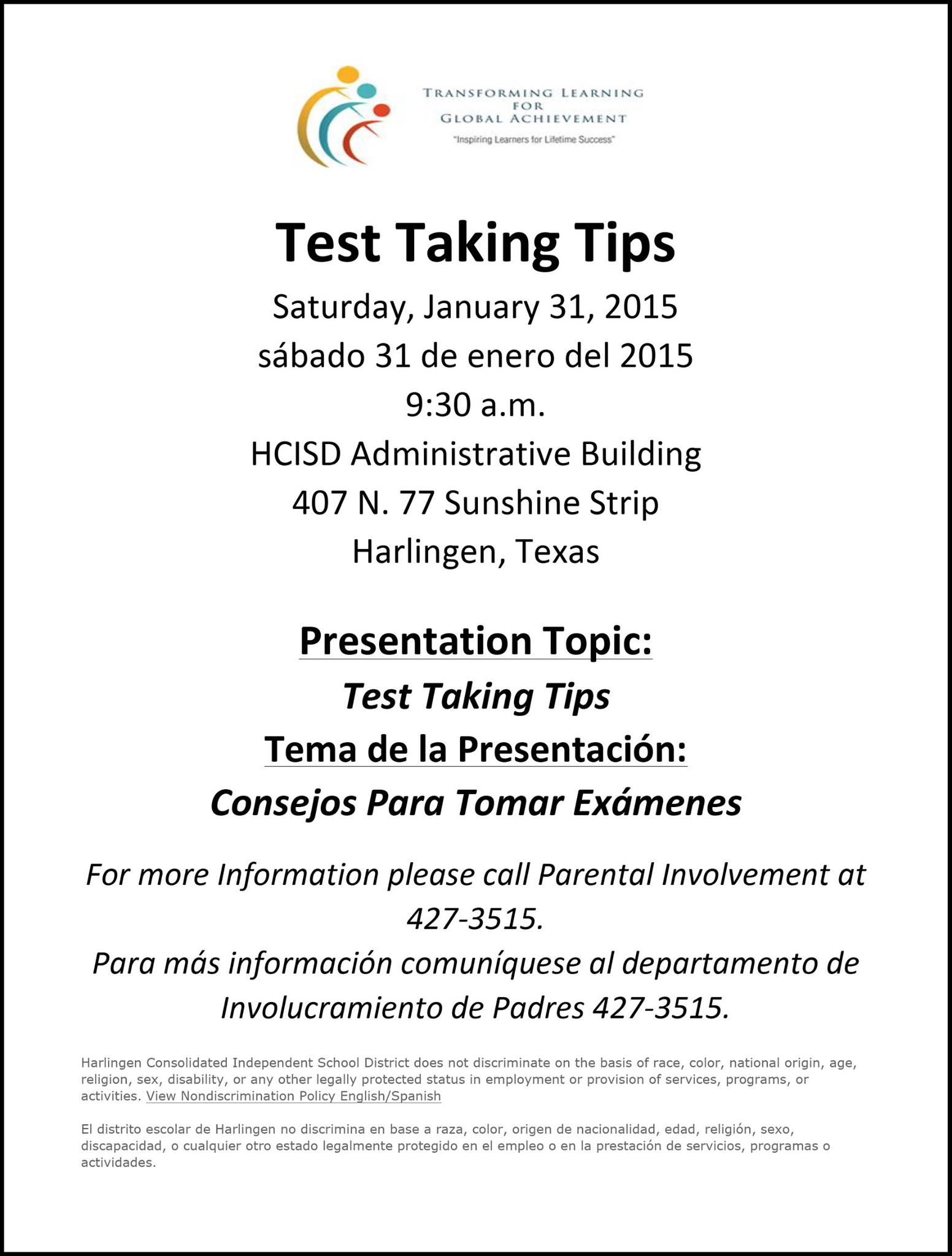 HCISD parents and students invited to Test Taking Tips workshop