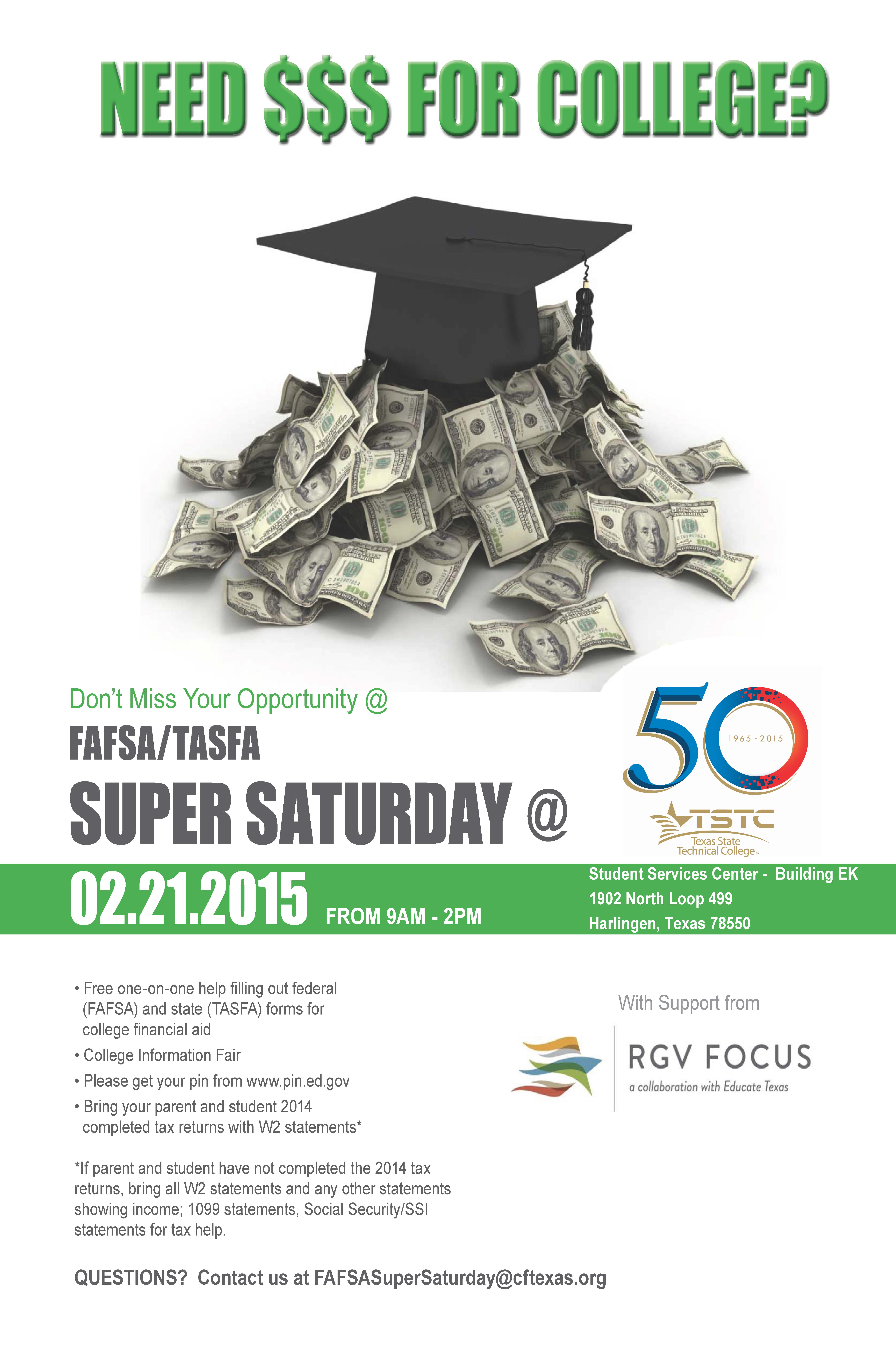 Need money for college? Don't miss your opportunity at the 2nd annual FAFSA/TASFA Super Saturday