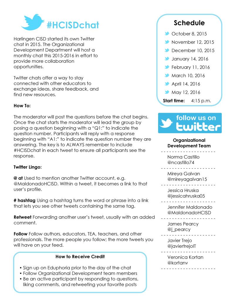 Microsoft Word - 1516 HCISDchat Schedule Updated .docx