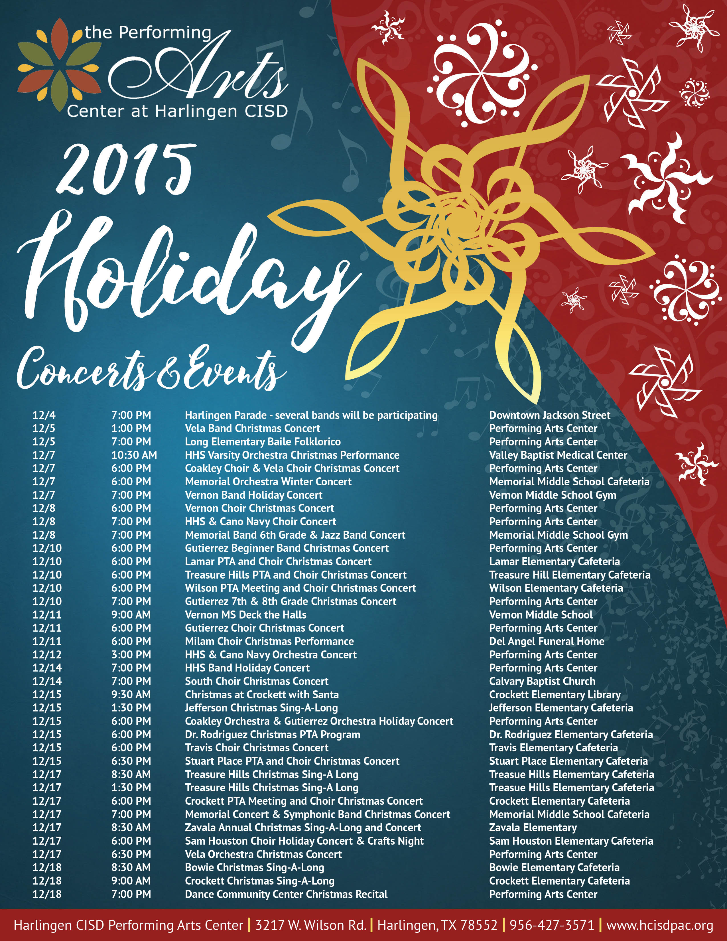 2015 Holiday Performance Schedule