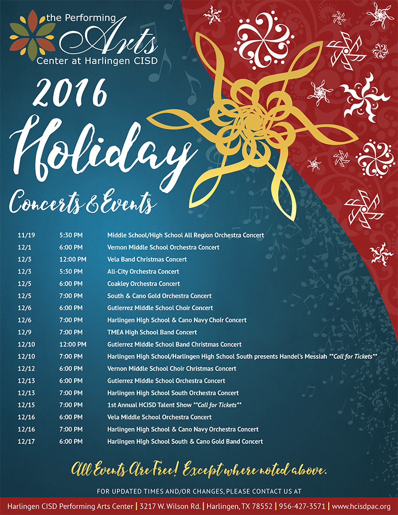 HCISD's Performing Arts Center 2016 Holiday Schedule