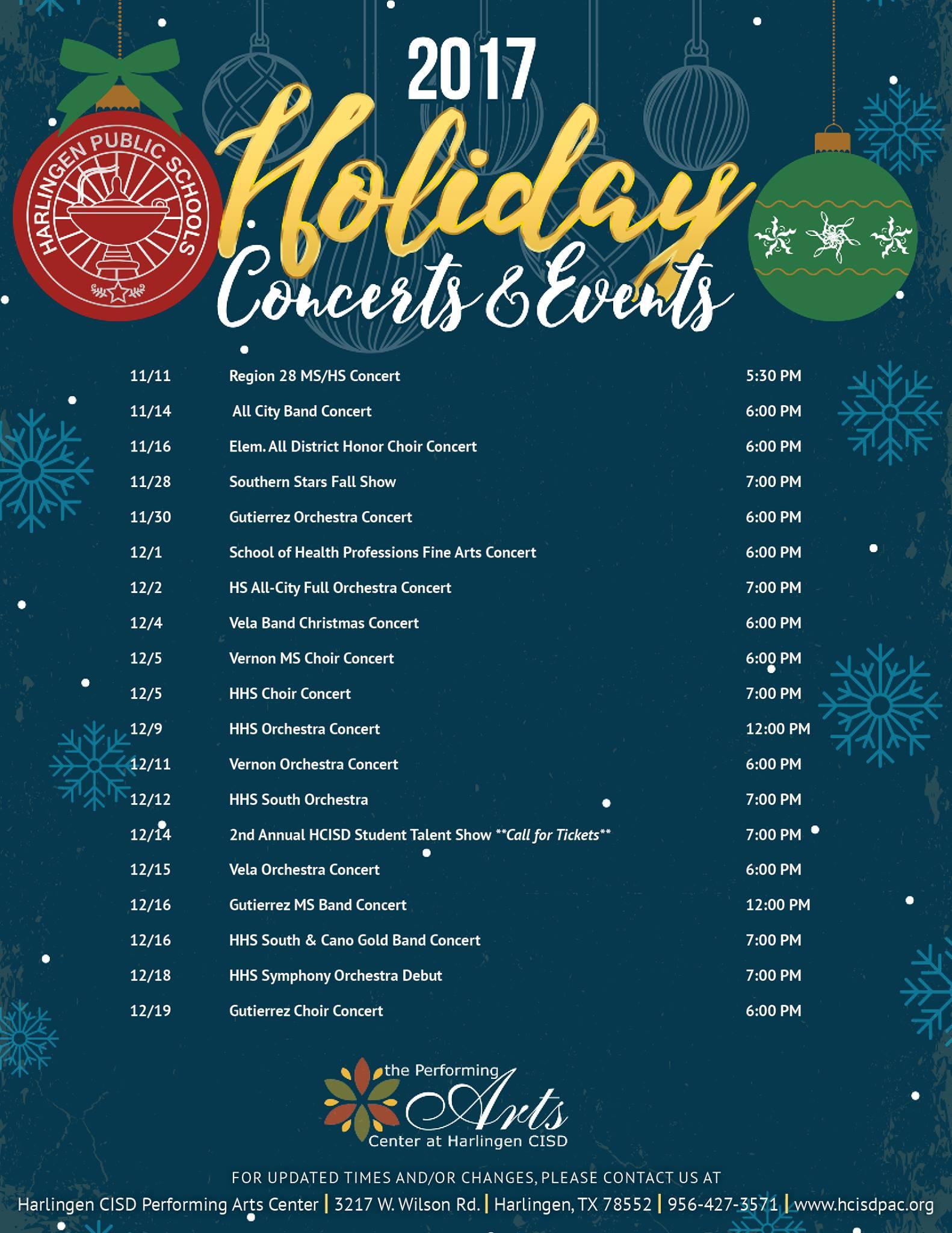 2017 Holiday Concert Schedule