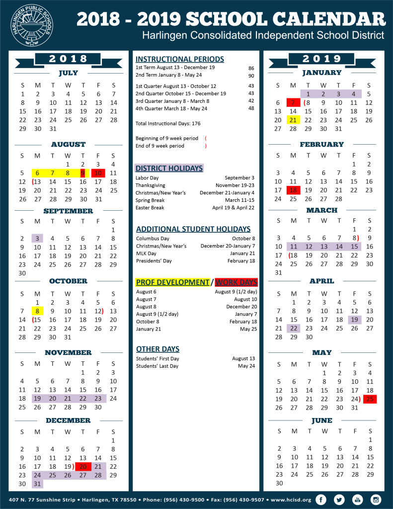 2018-2019-District-Calendar