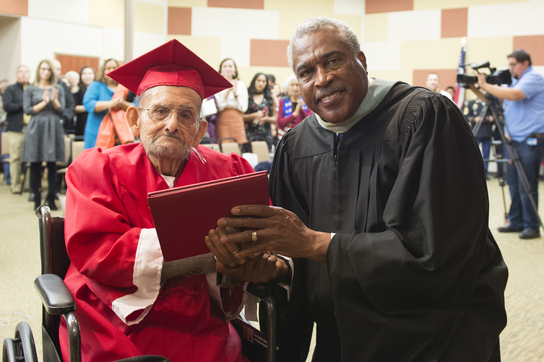 World War II veteran receives high-school diploma
