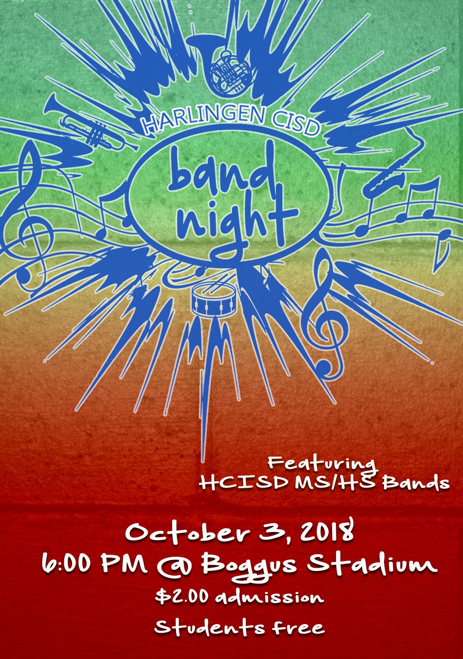 HCISD invites the community to Band Night 2018