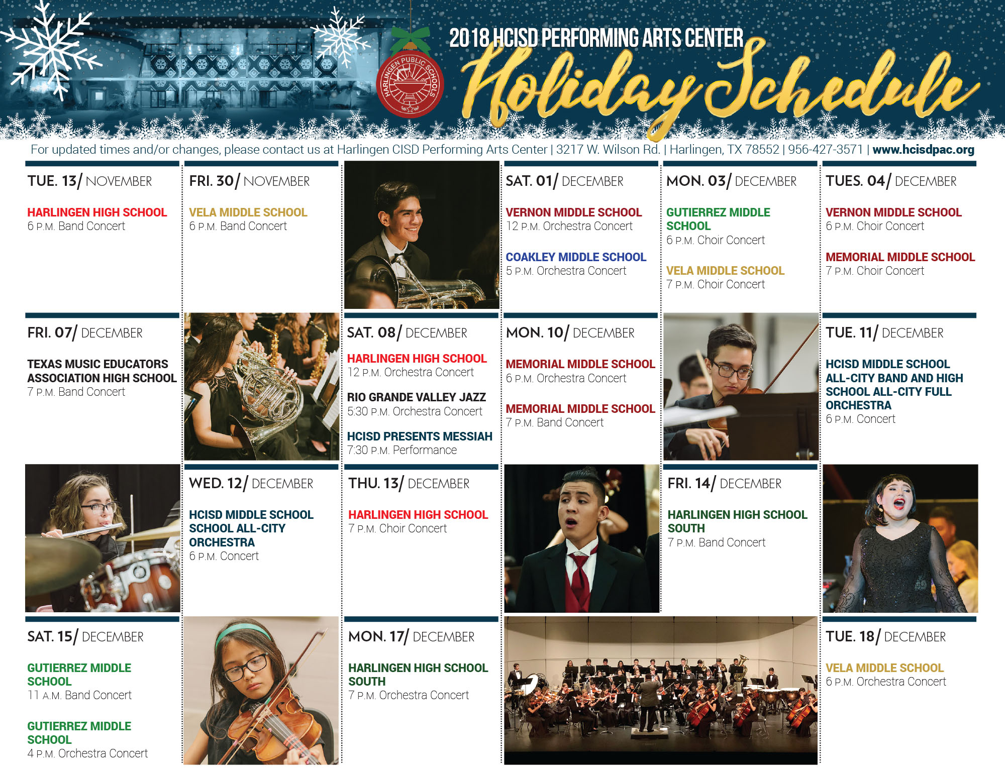 2018 Holiday Concert Schedule