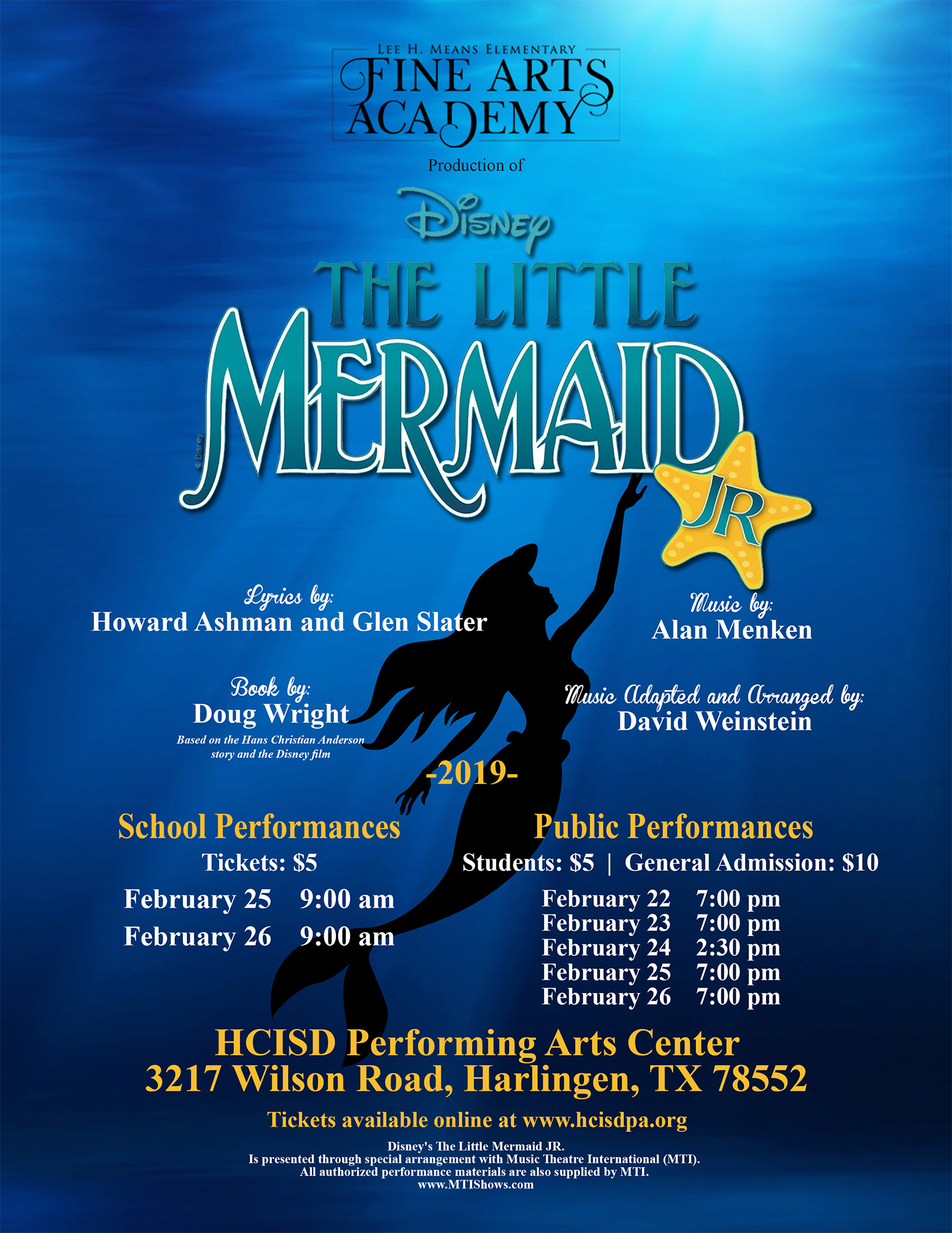 Lee Means Fine Arts Academy presents Disney's The Little Mermaid Jr.