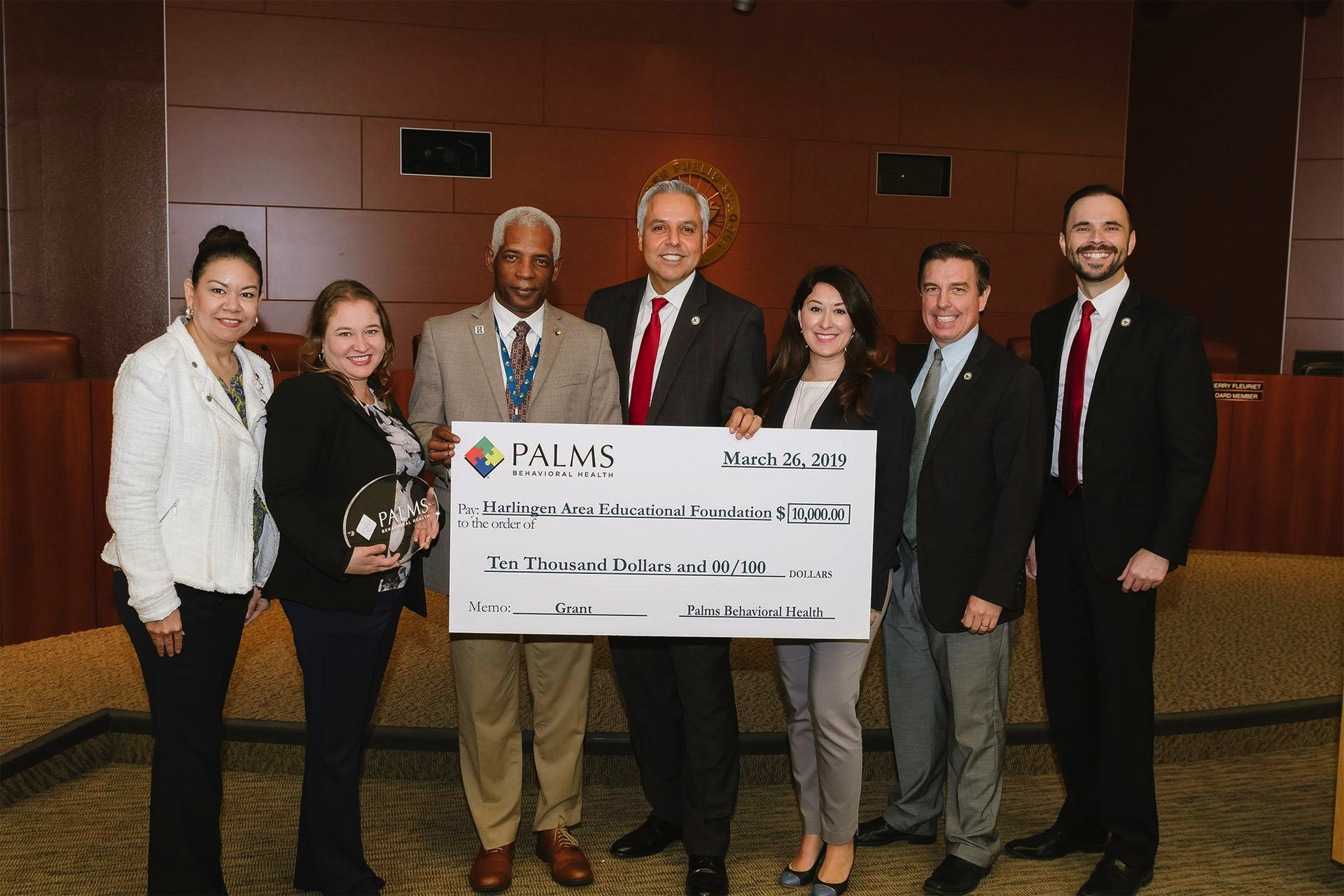 Palms Behavioral Health donates $10K to Harlingen Area Educational Foundation