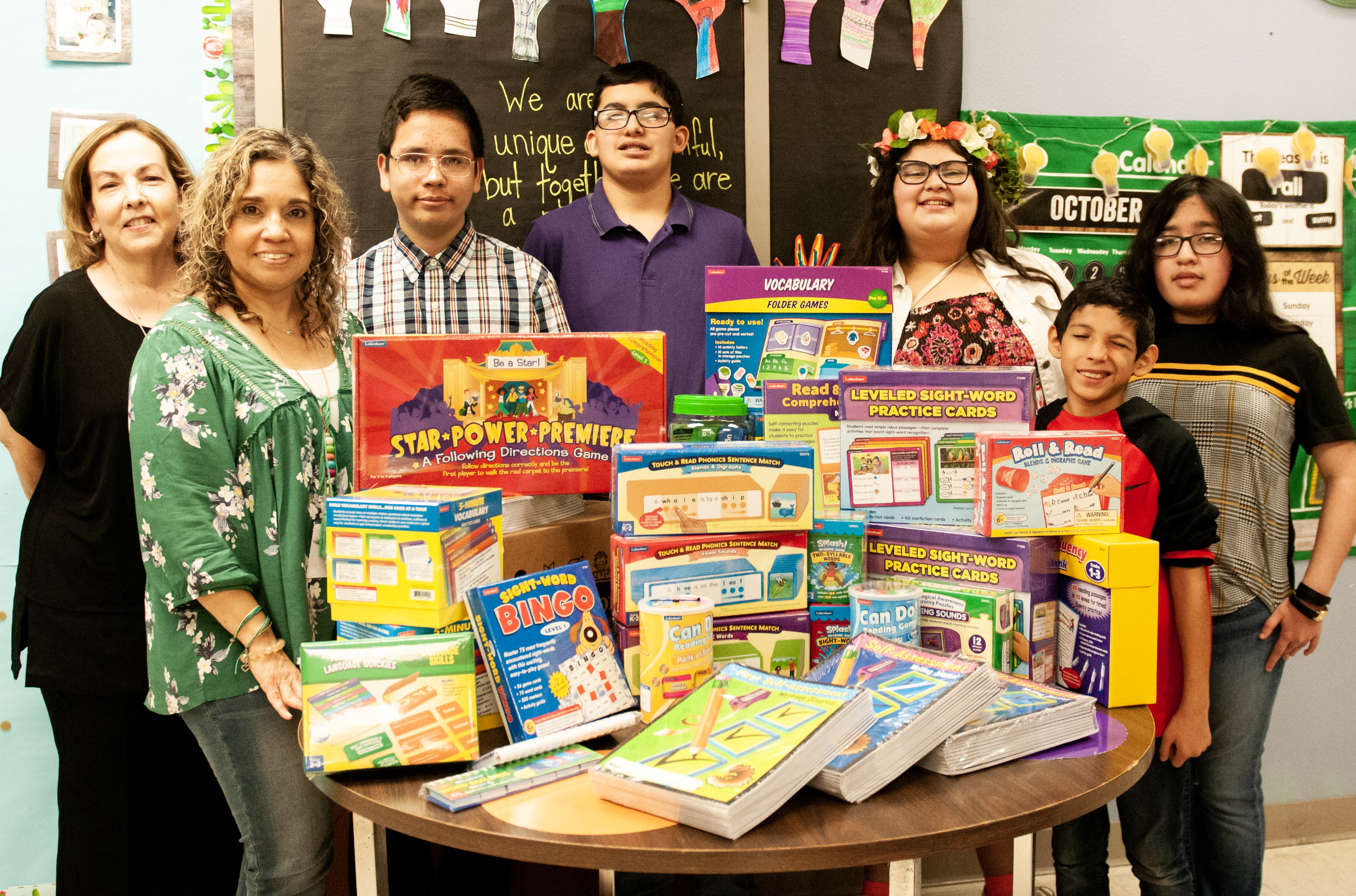 Special Education teachers gifted new literacy kits