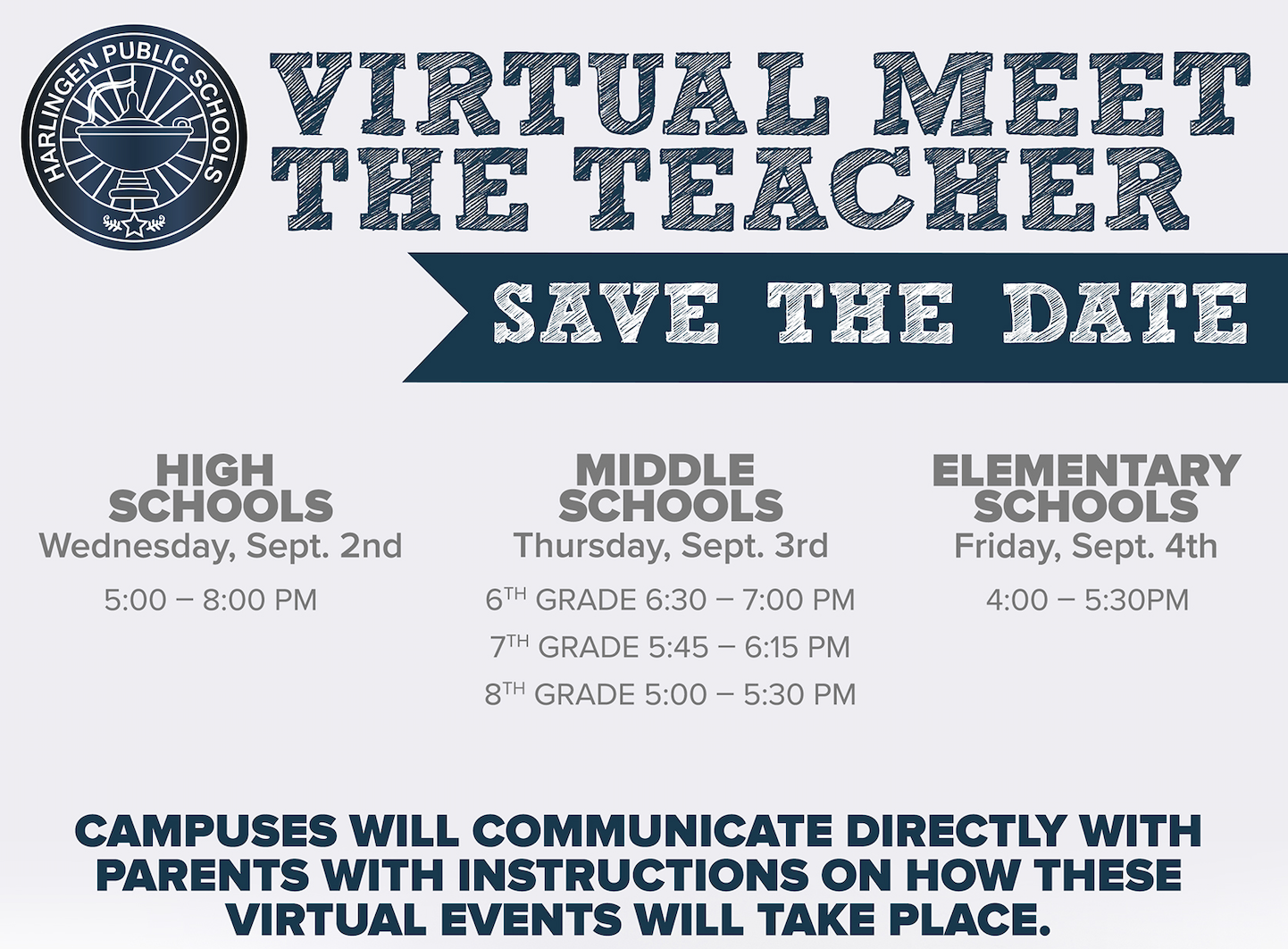 Meet the Teacher events will be held virtually