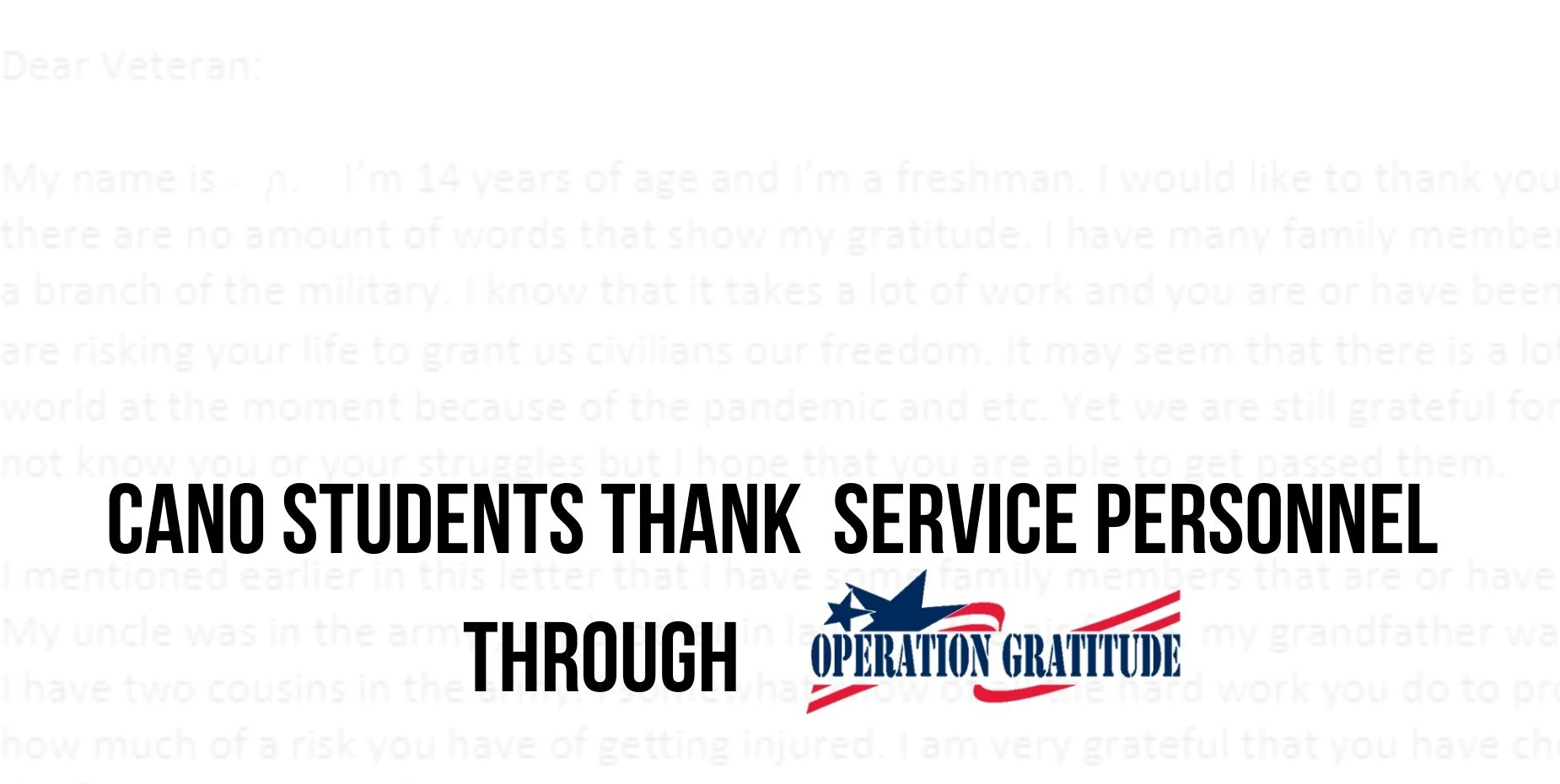 Cano students thank service personnel through Operation Gratitude