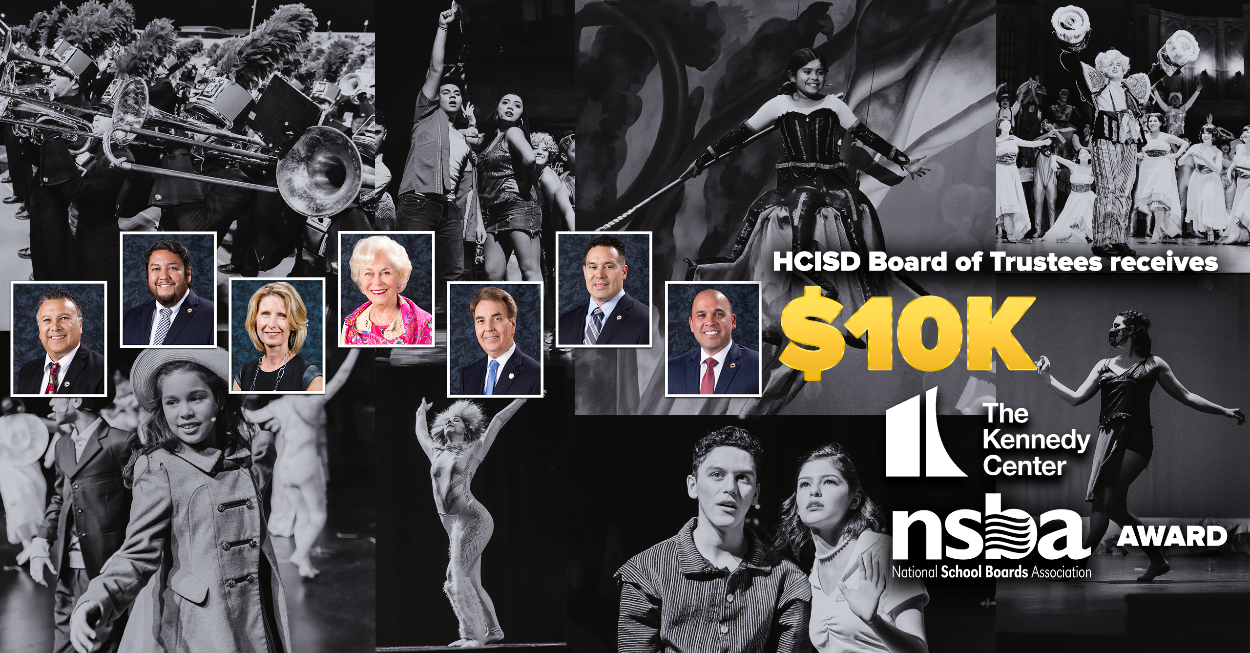 HCISD Board of Trustees receives $10K Kennedy Center and NSBA award